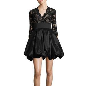 Betsy & Adam 3/4 Sleeve Lace Taffeta Dress